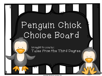 Penguin Chick Reading and Writing Response Choice Board