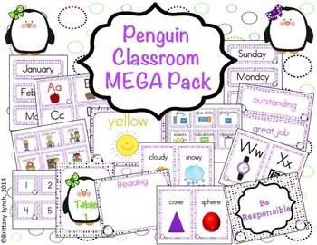 Penguin Classroom Theme MEGA Bundle (editable)