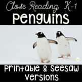 Penguin Close Reading Unit for Kindergarten and First Grad