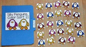 Penguin File Folder Game:  Penguins Color Sort I