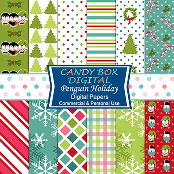 Penguin Holiday Christmas Digital Papers - Commercial or P
