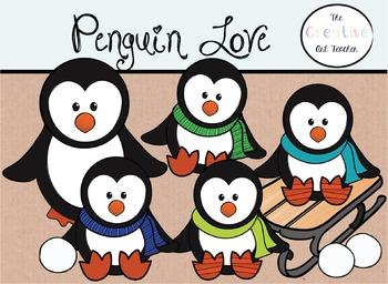 Penguin Love - Digital Clipart