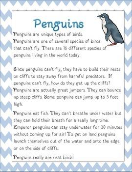 Penguin Non Fiction Article with Main Idea Summary Activities