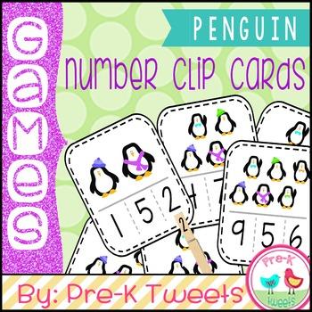 Penguin Number Clip Cards