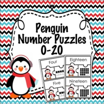 Penguin Winter Number Puzzles  0-20 ( Number Name ,  Numbe