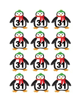 Penguin Numbers for Calendar or Counting Activity