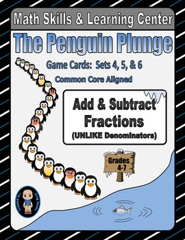 Penguin Plunge Game Cards (Add & Subtract Unlike Fractions