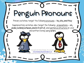 Penguin Pronouns – Winter Language Activities with a Pengu