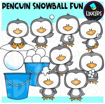 Penguin Snowball Fun Clip Art Bundle