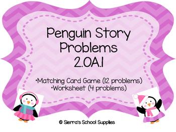 Penguin Story Problems Winter Math 2.OA.1