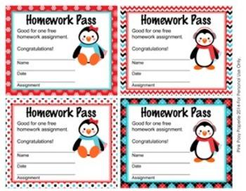 Penguin Winter Theme Homework Passes