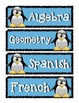 Penguin Theme Subject Pocket Chart Schedule Signs
