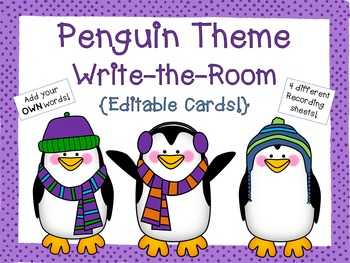 Penguin Theme Write-the-Room {Editable Cards!}