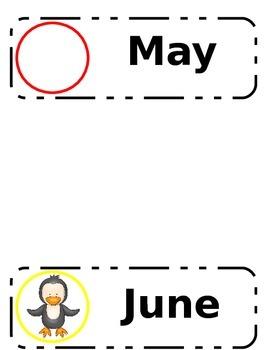 Penguin Themed Calendar Month Labels