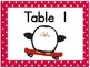 Penguin Themed Table Cards