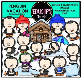 Penguin Vacation Clip Art Bundle