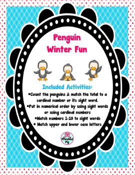 FREE Penguin Winter Fun Activities, Counting, Sight Words,