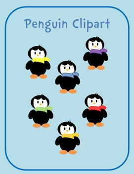 Penguins With Colorful Scarves Clipart