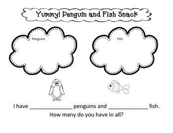 Penguin and Fish Snack Story Problems Freebie
