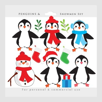 Penguin clipart - Christmas clip art, penguins, snowman, s