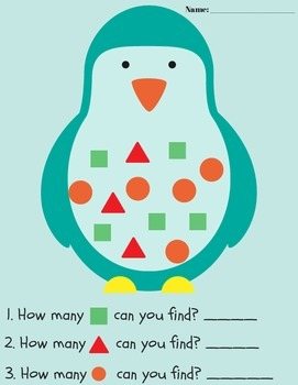 Penguins: A shape and counting printable