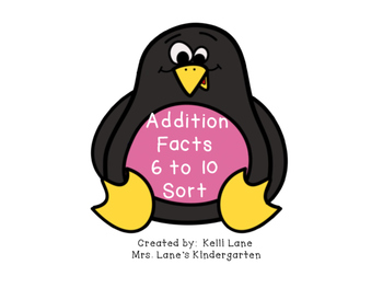 Penguins Addition Facts 6 to 10 Sort