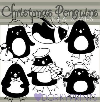 Penguins Black Line Art