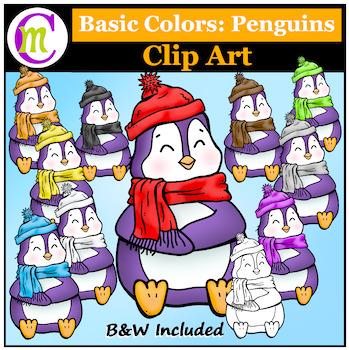 Penguins Clip Art ♦ Basic Colors