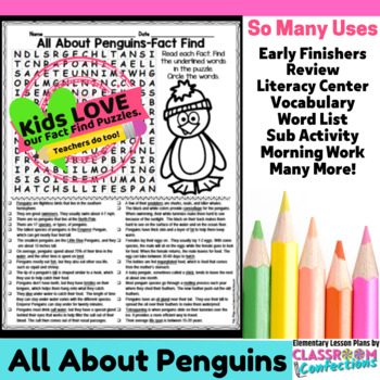 Penguins: All About Penguins Reading and Word Search Activity