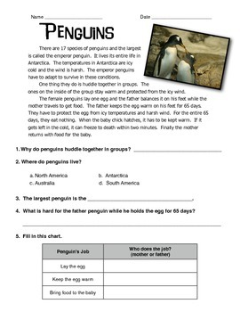Penguins Informational Text