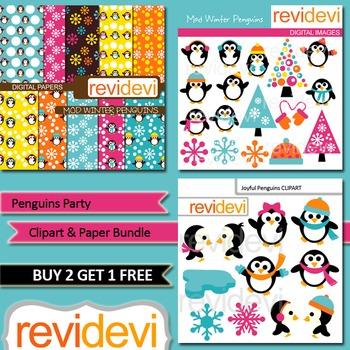 Penguins Party Clip art and Bundle (3 packs), teacher sell