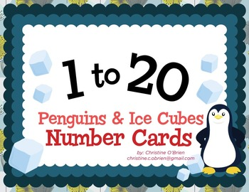 Penguins and Ice Cubes Number Cards 1-20