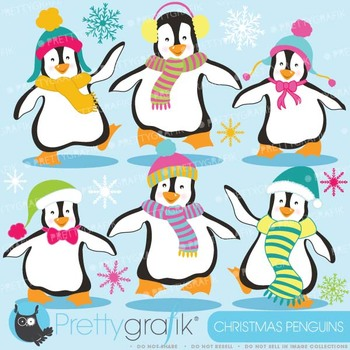 Penguins clipart commercial use, vector graphics, digital