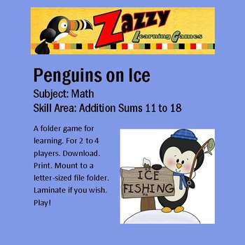 Penguins on Ice Folder Game Addition Sums 11-18