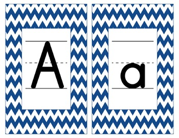 Penn State Inspired Blue & White Alphabet & Number Cards f