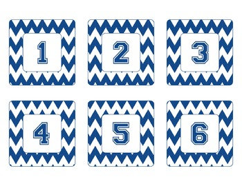 Penn State Inspired Blue and White Chevron Calendar Pieces