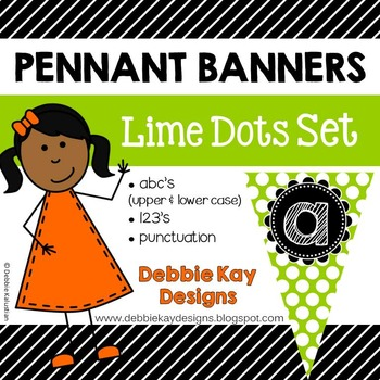 Pennant Banners Lime Dots Set