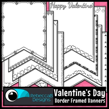 Valentine's Day Pennant Doodle Borders
