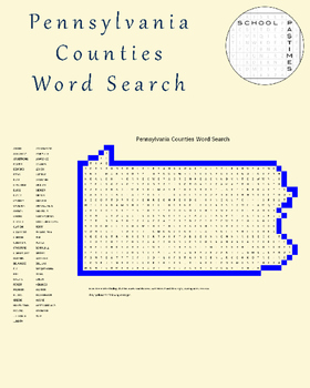 Pennsylvania Counties Word Search