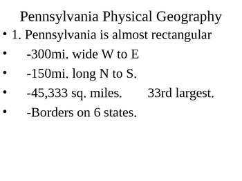 Pennsylvania History: 1. Geography, Localities, and Roads