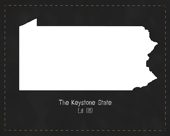 Pennsylvania State Map Class Decor, Government, Geography,
