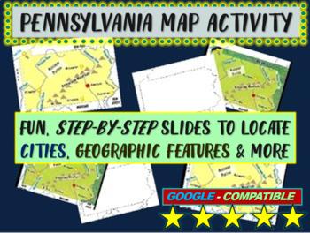 Pennsylvania (state) Map Activity- fun, engaging, follow-a