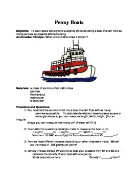 Penny Boat Lab: Density, Buoyancy and Archimedes