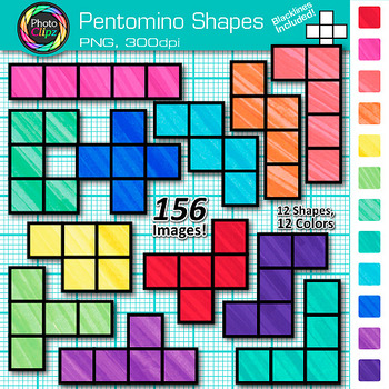 Pentomino Shapes Clip Art {Great for Geometry, Area and Pe
