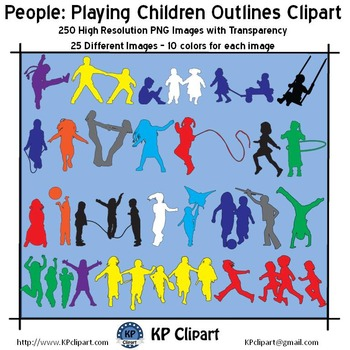 People Playing Children Outlines Clipart