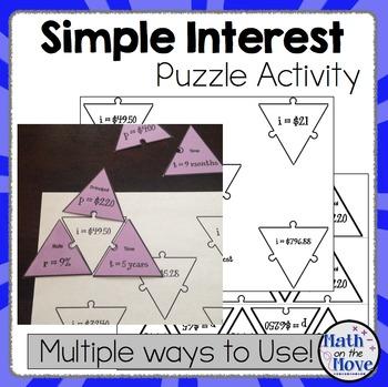Percents - Simple Interest - Puzzle Activity