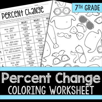 Percent Change Coloring Worksheet