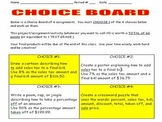 Percent Choice Board
