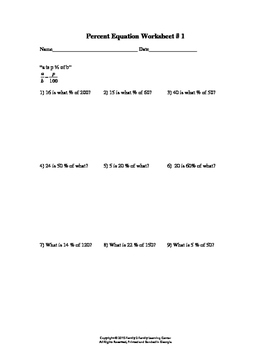 Percent Equation Worksheet #1