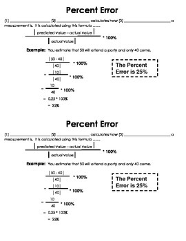 Percent Error Guided Notes
